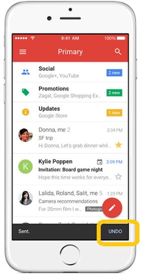 Gmail iOS annulation envoi