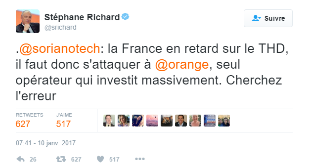 Tweet S Richard Orange Soriano Arcep