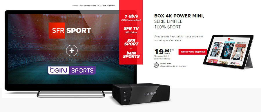 sfr la box thd sfr sport et bein sports 24 99 par mois. Black Bedroom Furniture Sets. Home Design Ideas