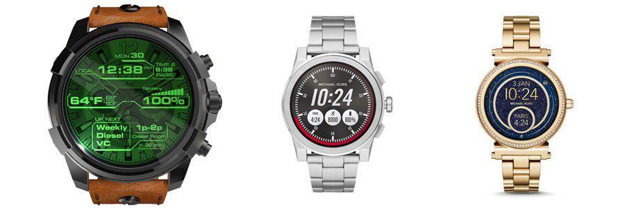 De gauche à droite   Diesel On, Micheal Kors Access Greyson et Access  Solfie. Un deuxième ensemble comprend pour sa part des montres connectées  ... 3f133e2abc6c