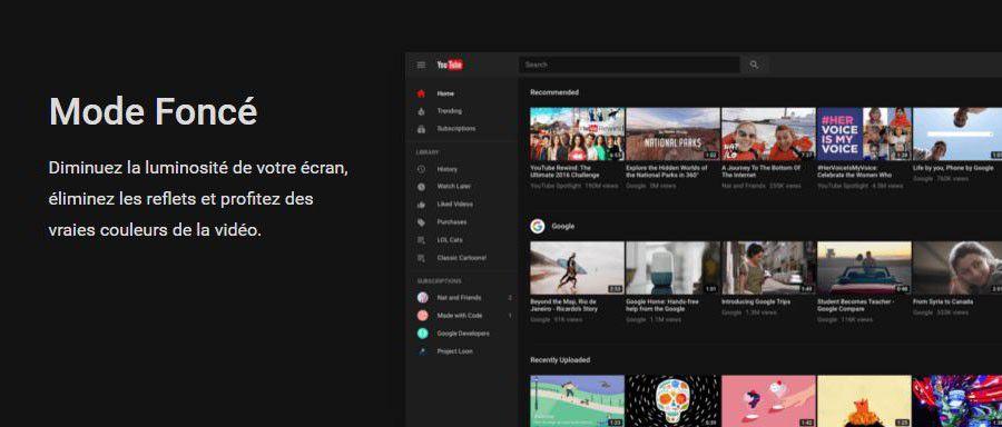 """Le nouveau YouTube et son """"mode foncé"""" accessibles à tous"""