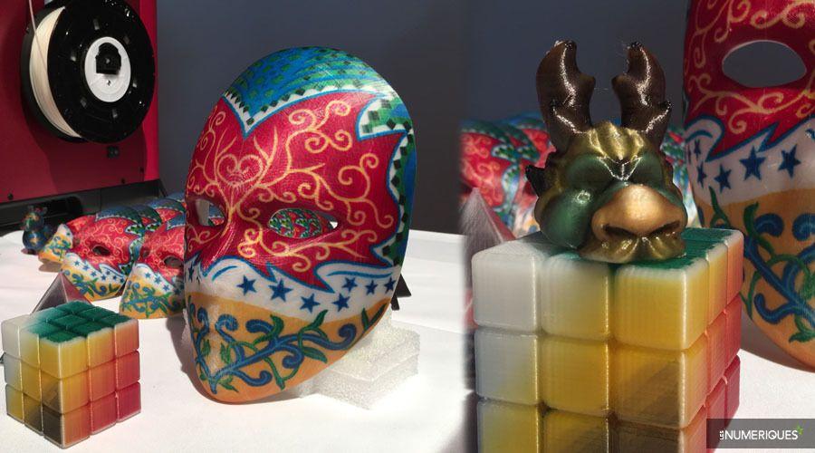 Différents objets fabriqués avec l'imprimante 3D couleur XYZprinting da Vinci Color
