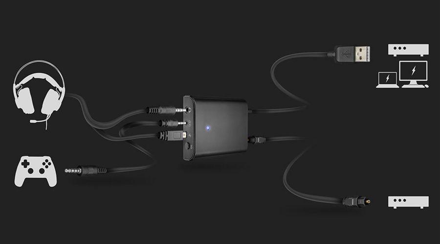 Casque-micro pour gamer Trust Dion, détail de la connectique par boîtier de commande