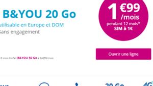 Bon plan – Le forfait B&You 20 Go à 1,99€/mois