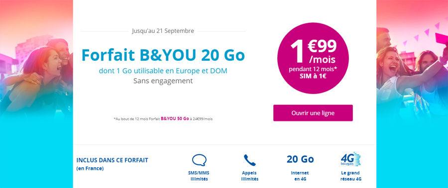 [MàJ: fin précoce] Bon plan – Le forfait B&You 20 Go à 1,99€/mois