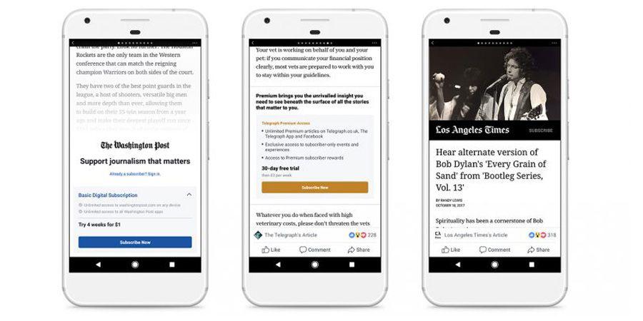 L'abonnement payant pour lire les articles sera d'abord lancé sur Android — Facebook