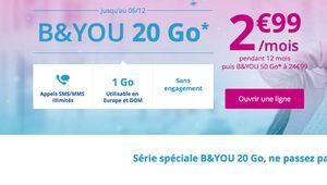 B&You: le forfait sans engagement 20 Go à 2,99€ pendant un an