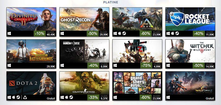 Quels sont les jeux les mieux vendus sur Steam en 2017