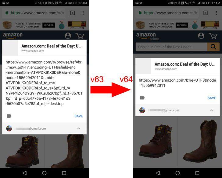 Chrome 64 élague automatiquement les URL partagées