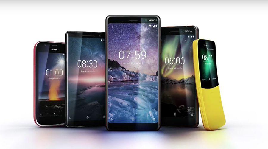 Téléphones Nokia famille 2018 : Nokia 1, Nokia 8 Sirocco, Nokia 7 Plus, Nokia 6 (2018) et Nokia 8810