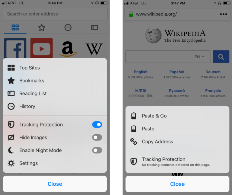 Firefox iOS Tracking Protection