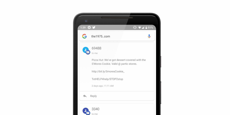 Android: un bug étrange affiche les SMS dans l'application Google