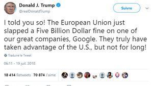 Amende Google: pour Donald Trump, l'UE profite des États-Unis