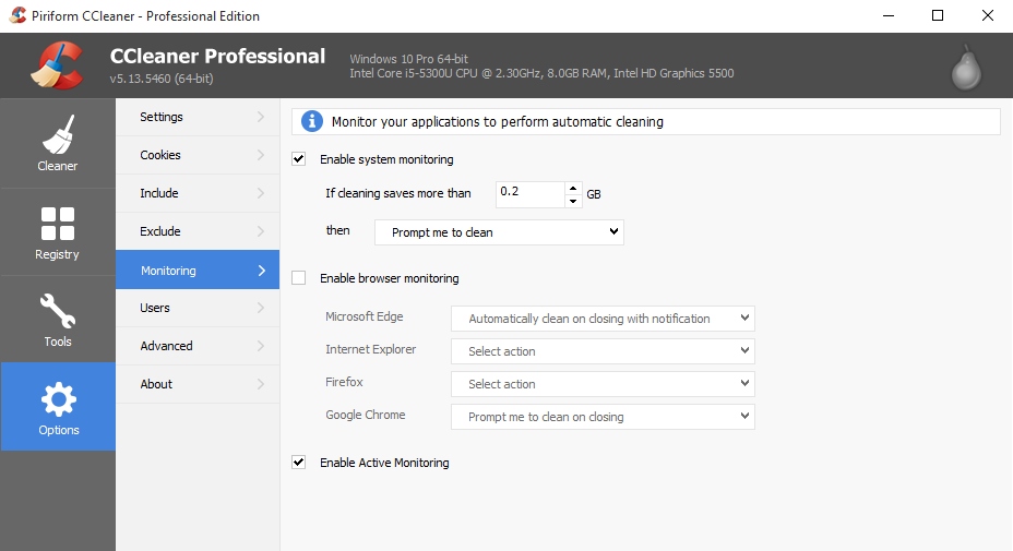 Capture CCleaner v5 13 Active Monitoring
