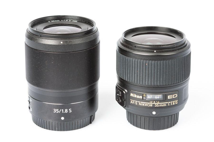 Nikon 35 mm f/1,8 comparaison monture Z et monture F