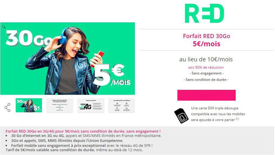 Bon plan – RED by SFR: illimité 30 Go à 5€, et plus si affinités…