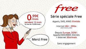 [MàJ] Free Mobile: forfait illimité + 30 Go à 0,99€ par mois