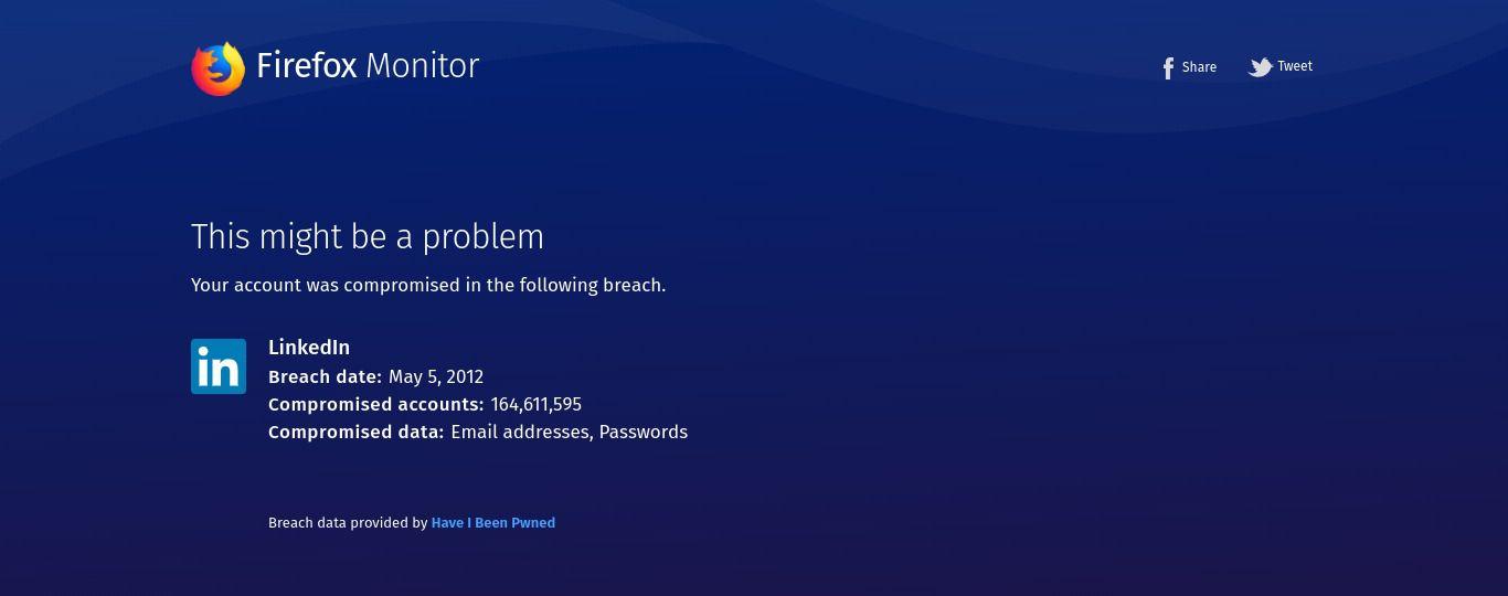 Firefox Monitor LinkedIn 2012