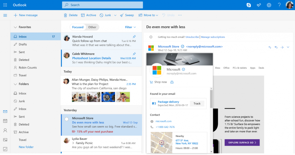 Microsoft Outlook promo visible