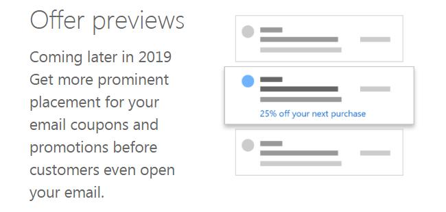 Outlook promos mises en avant