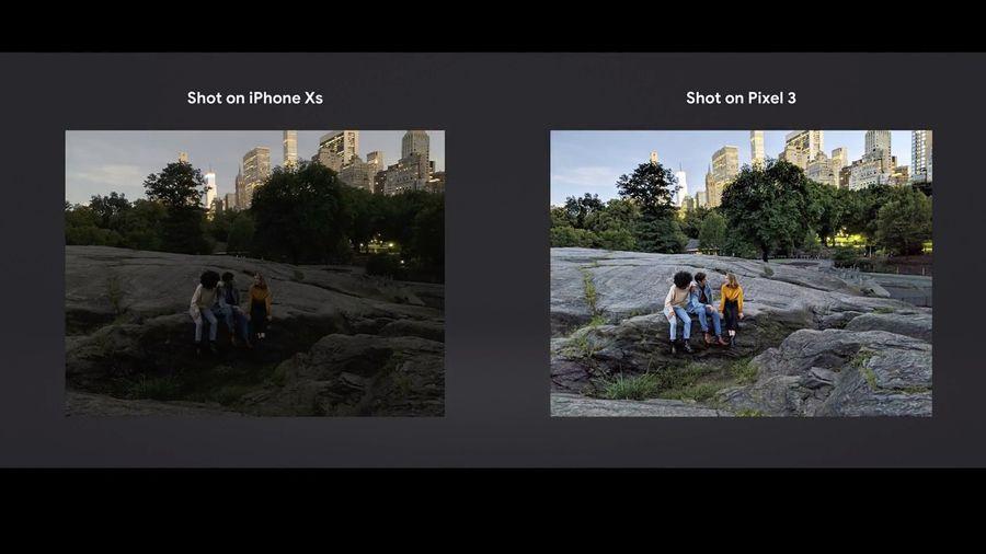 Google Pixel 3 comparaison photo avec iPhone Xs