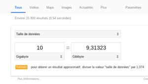 Google Search: les formules apparaissent sous les conversions