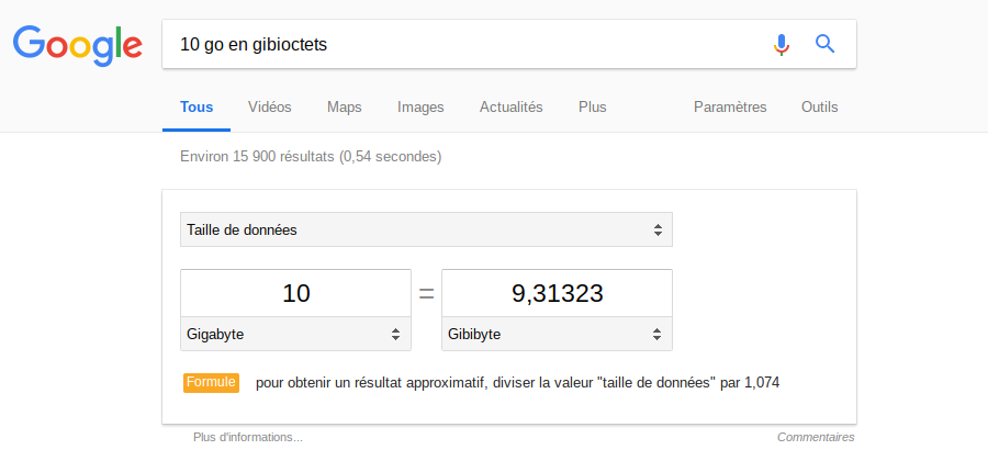 Google conversion 10 Go en gibioctets