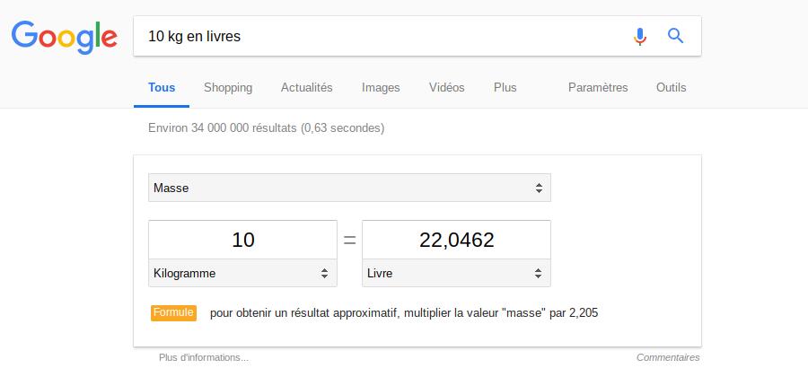 Google conversion 10kg livres