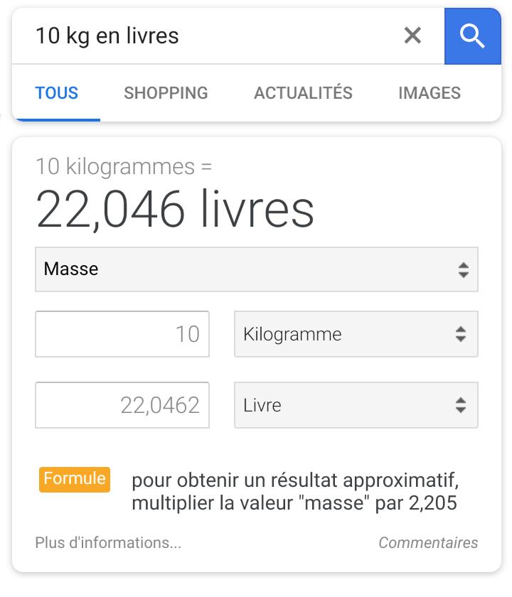 Google mobile conversion livres kg