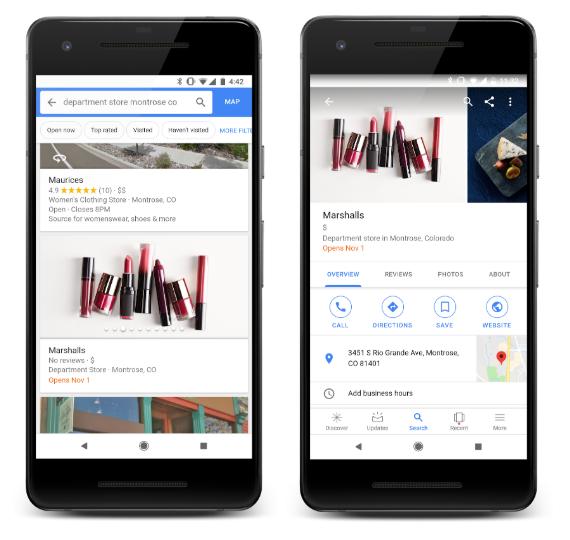 Google Maps ouverture prochaine boutique
