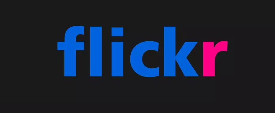 Flickr logo sur fond noir