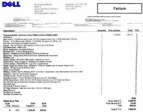 modele facture ordinateur portable
