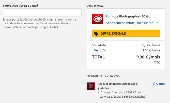 Adobe Creative Cloud Photo offre de réduction