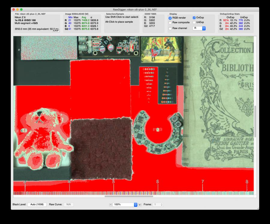 Analyse des fichiers bruts surexposés du Nikon Z6 avec RawDigger