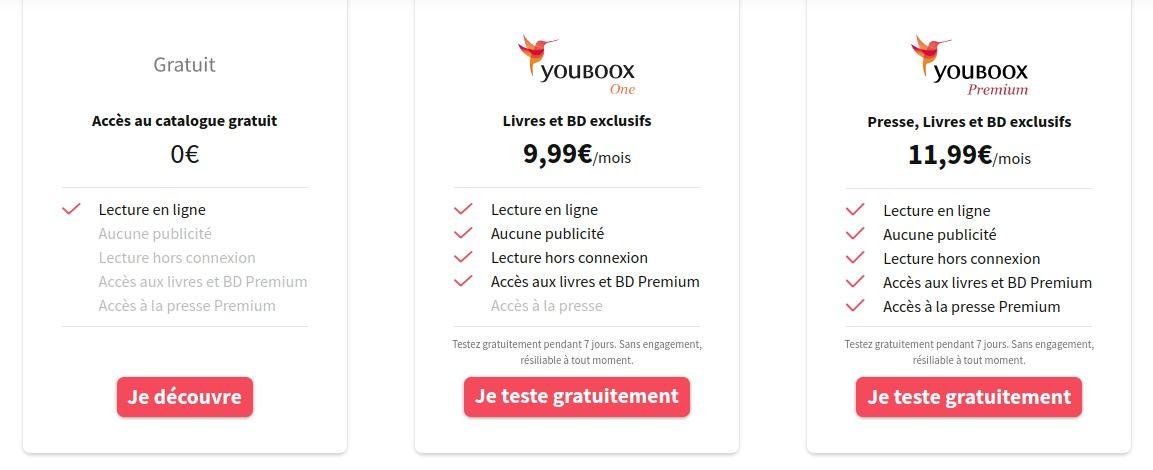 Youboox formules abonnement