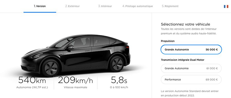 tesla model y le configurateur fran ais est ouvert les num riques. Black Bedroom Furniture Sets. Home Design Ideas