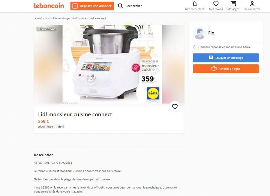 Le Monsieur Cuisine Connect de Lidl sur Leboncoin, un mauvais plan