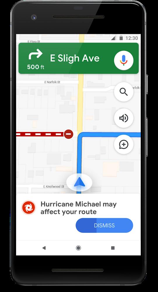 Google Maps alerte trajet