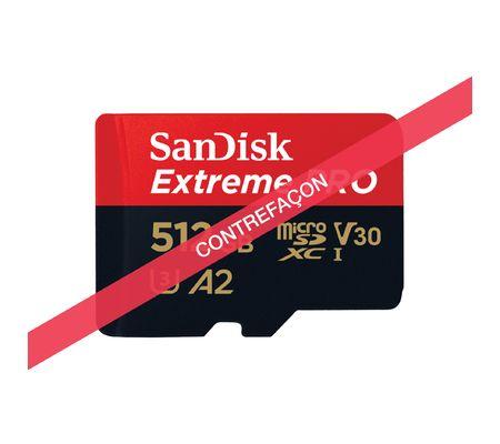 Contrefaçon carte microSD Sandisk Extreme Pro 512 Go