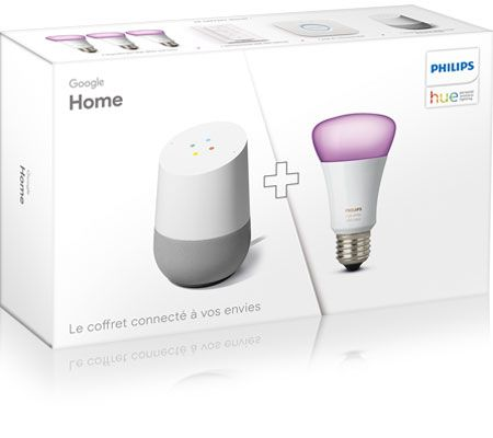 Google Pack Google Home et Philips Hue White and Color Ambiance