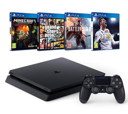 PS4 + FIFA 18 + GTA V + Minecraft + Battlefield 1