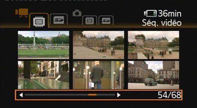 En mode lecture, les vignettes des clips s'affichent sur l'écran