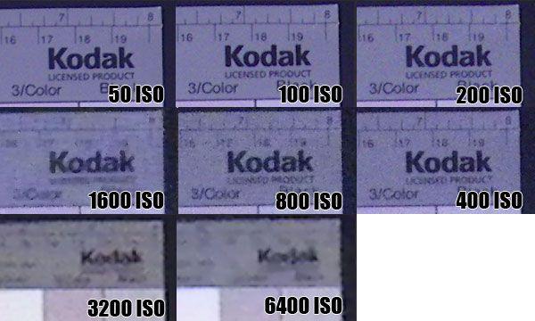 Pentax Optio W60 gestion du bruit électronique aux différentes sensibilités