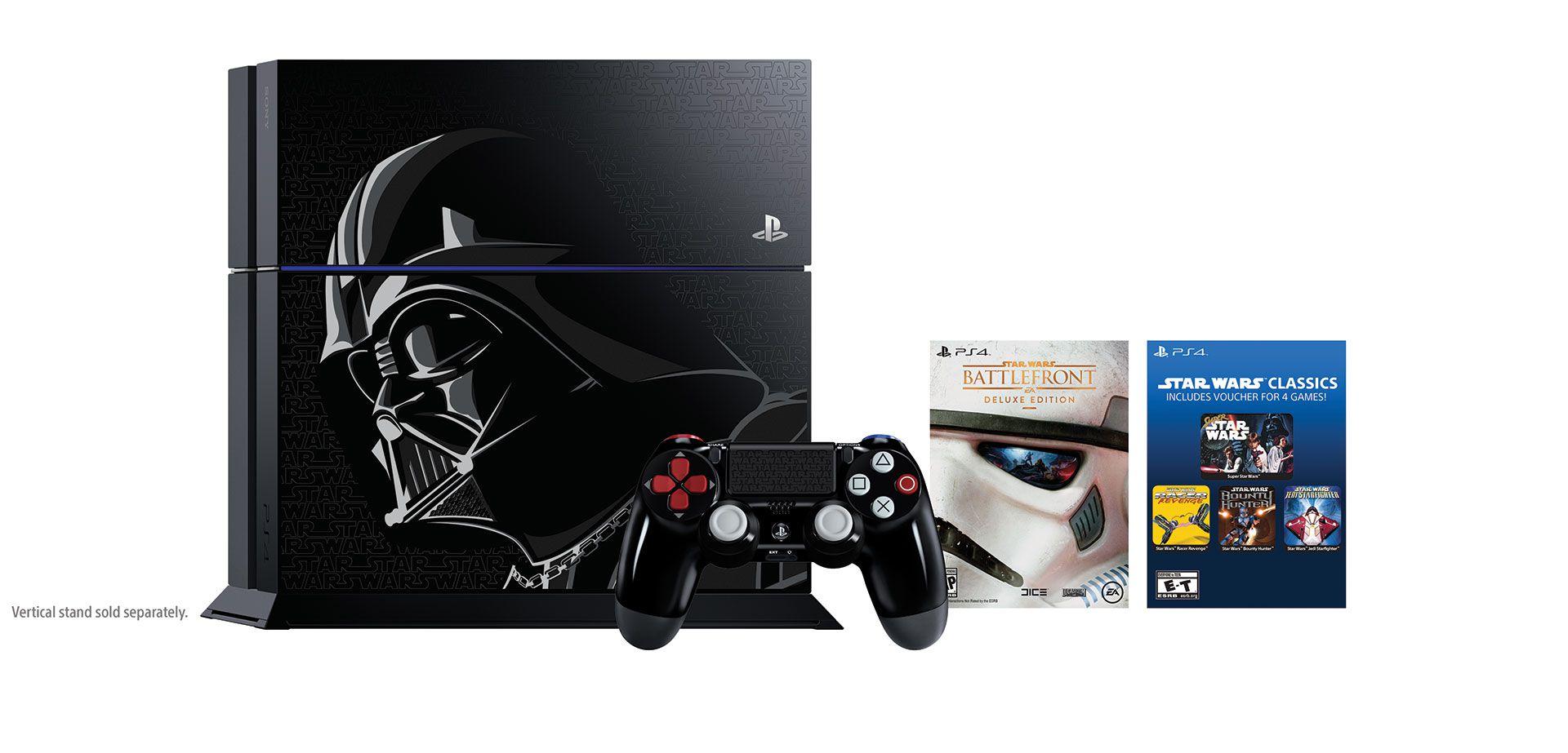 sony playstation 4 star wars dark vador bundle battlefront disponibilit caract ristiques. Black Bedroom Furniture Sets. Home Design Ideas