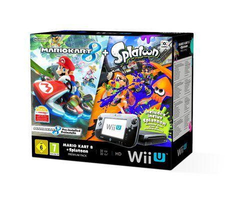 Nintendo Wii U 32 Go noire + Mario Kart 8 +Splatoon