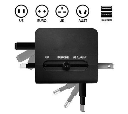 Adaptor Adaptateur International de Voyage Chargeur avec 2 USB 2,1 A