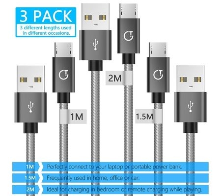 Gritin Lot de 3 câbles de charge rapide micro USB (1+1.5+2M) nylon