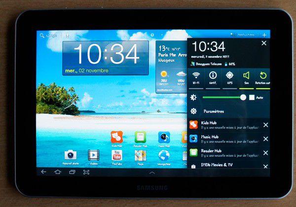 Samsung galaxy tab 8 3g acceuil