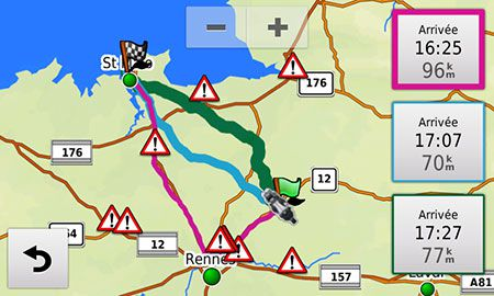 Garmin zumo 590LM Test Menu Applis Round trip 02