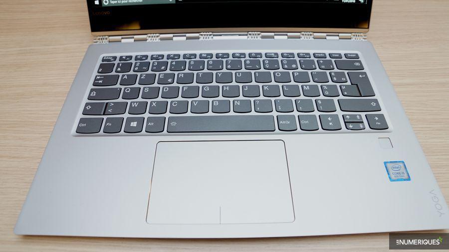 Test PC ultraportable Lenovo Yoga 920, zone du clavier et trackpad